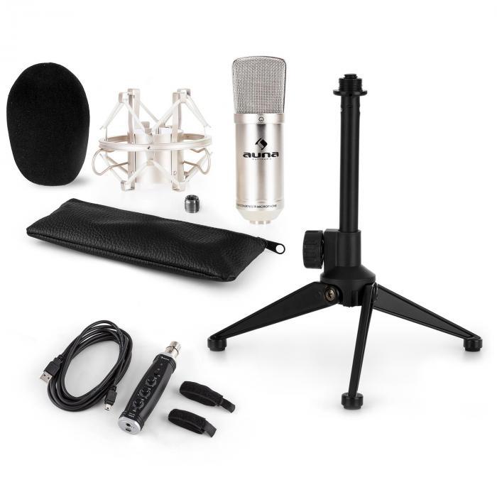 CM001S Mikrofon-Set V1 Kondensatormikro USB-Adapter Mikrofonstativ silber