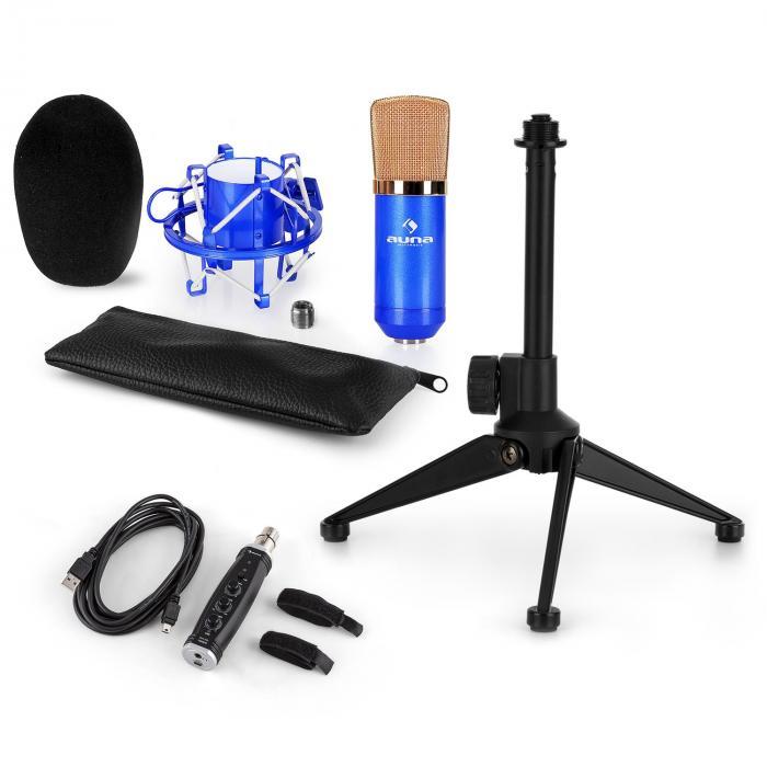 Auna CM001BG mikrofonisetti V1 kondensaattorimikrofoni USB-adapteri mikrofoniteline sininen