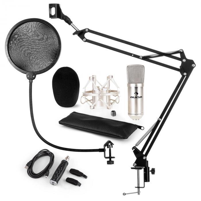 CM001S Microphone Set V4 Condenser Microphone Arm POP-Shield silver