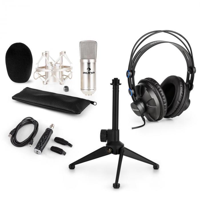 Auna CM001S microfoonset V1 koptelefoon condensatormicrofoon USB-adapter zilver