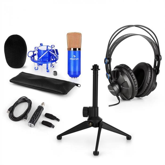 Auna CM001BG mikrofonisetti V1 kuulokkeet kondensaattorimikrofoni sininen