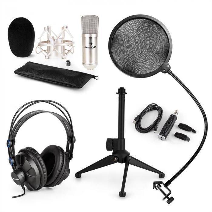Auna CM001S microfoonset V2 koptelefoon condensatormicrofoon zilver