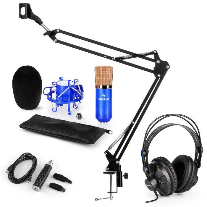 CM001BG microfoonset V3 koptelefoon condensator USB adapter microfoonarm - blauw