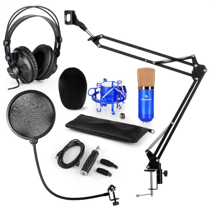 CM001BG Microphone Set V4 Headphones Condenser USB Adapter Arm POP-Shield