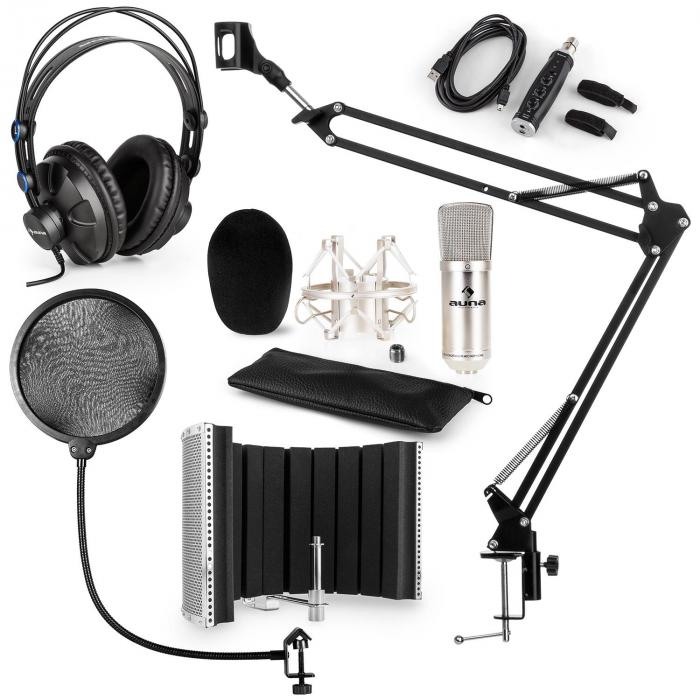 CM001S Microphone Set V5 Headphones USB Adapter Arm POP Protection Screen Silver