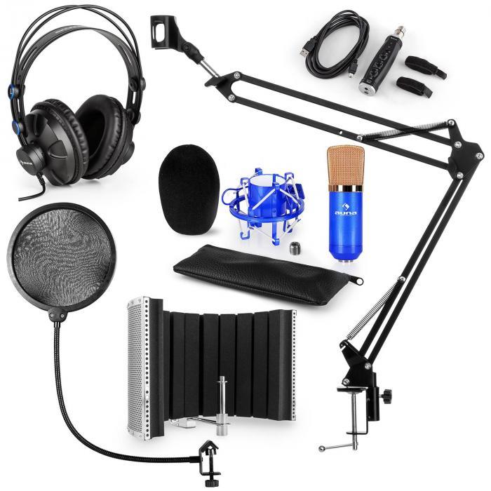 CM001B mikrofonisetti V5 kuulokkeet kondensaattori USB-muunnin kääntövarsi POP-suoja varjo sininen
