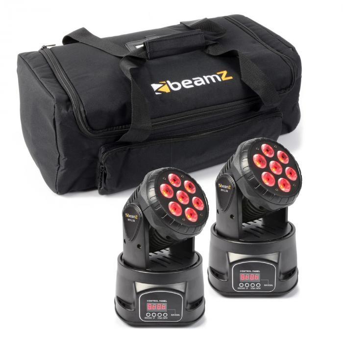 Beamz Zestaw efektów świetlnych 2x ruchoma głowica MHL-74 Mini Wash & 1x miękka torba transportowa