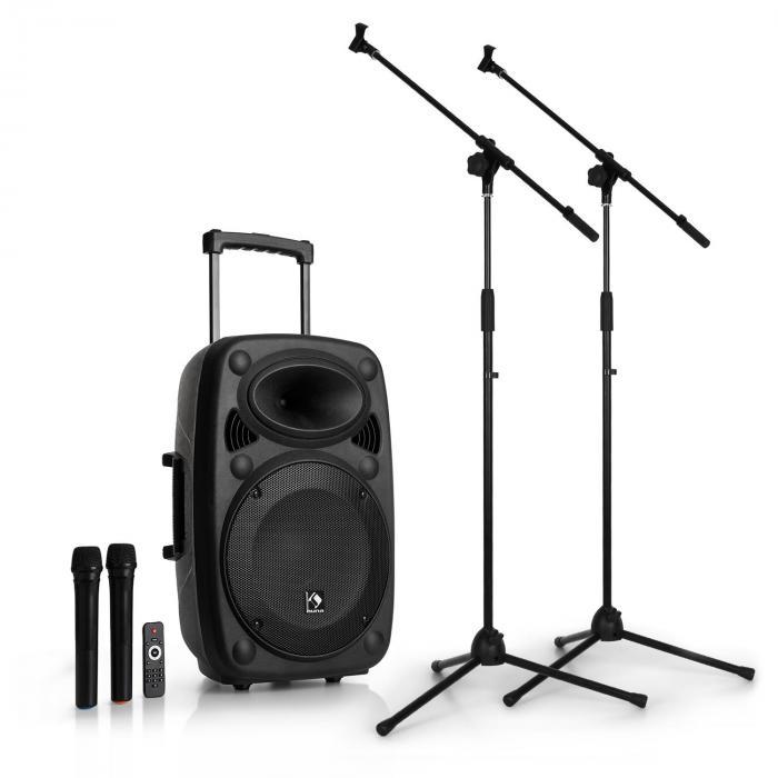 Streetstar 12 mobilny zestaw nagłośnieniowy PA z dwoma mikrofonami i stojak