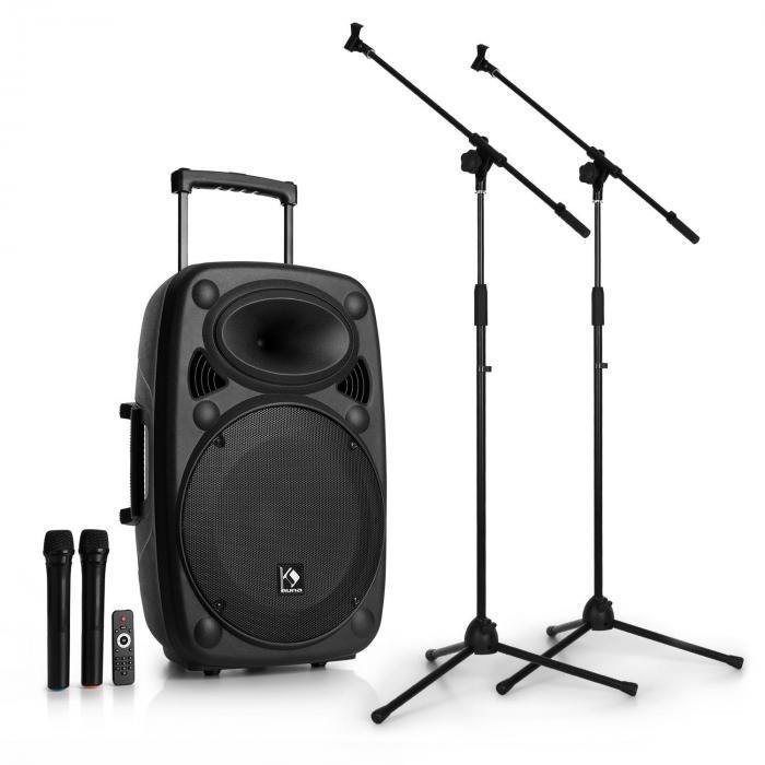Auna Streetstar 15 Przenośny system nagłośnieniowy z 2 mikrofonami i statywami