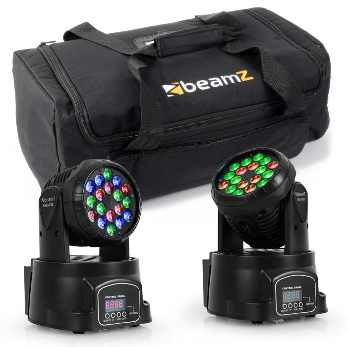 Valoefektisetti kuljetuslaukku 2x LED-108 moving head & 1 x soft case