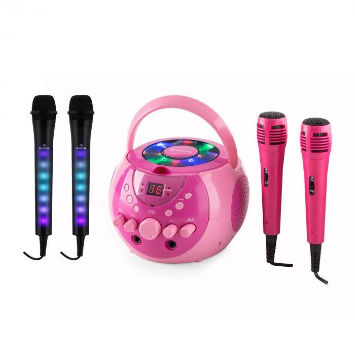 SingSing rosa + Dazzl Mic Juego de equipo de karaoke Micrófono Iluminación LED