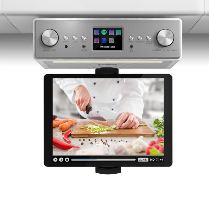 "Connect Soundchef Kitchen Radio with Tablet Holder DAB + FM 2x3"" Boxes White"