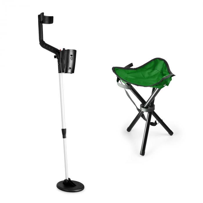 DURAMAXX Basic Green Zestaw do poszukiwania złota | detektor metali + stołek | cewka 16,5 cm