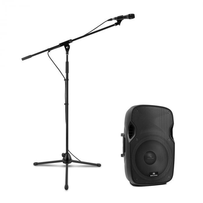 PW-2915 aktiivinen PA-kaiutinsetti mikrofonilla 800 W musta
