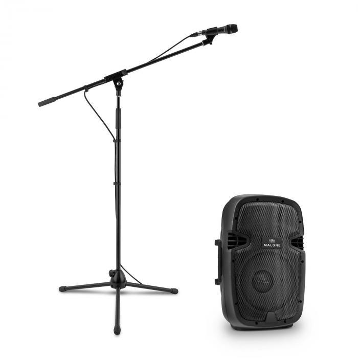 PW-2112 aktiivinen PA-kaiutinsetti mikrofonilla 600 W musta