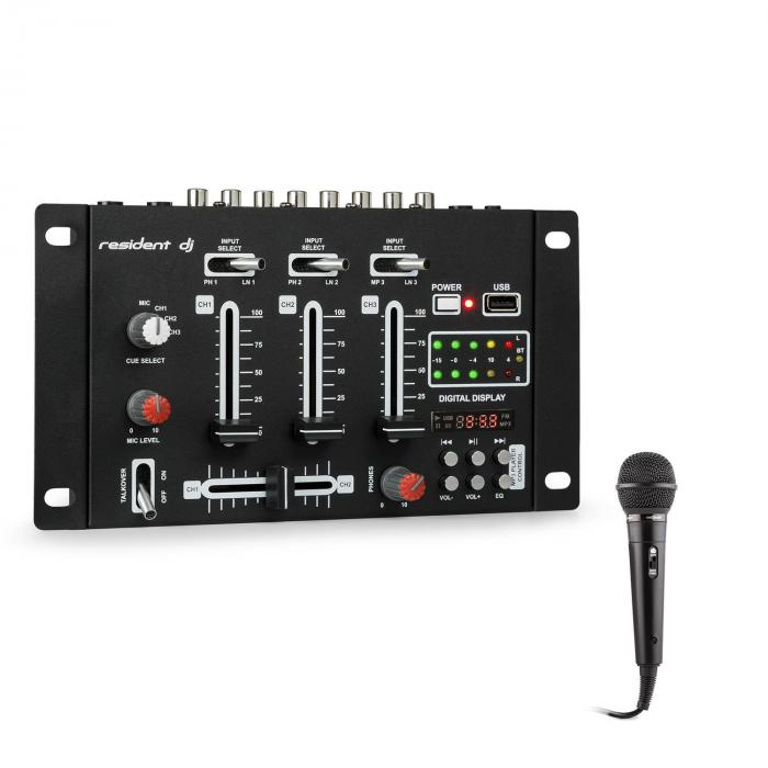 DJ-21 BT DJ-Mixer Set di Mixer Bluetooth USB Microfono Nero
