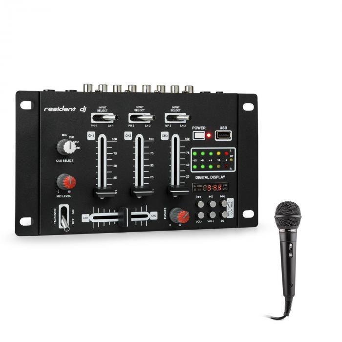 DJ-21 BT DJ Mixer Console Set Bluetooth USB Microphone Black