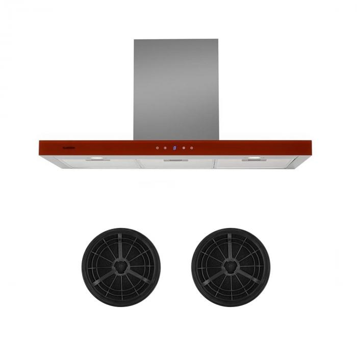 Bon Vivant Rouge Cooker Extractor Hood Recirculation Set Activated Carbon Filter Red