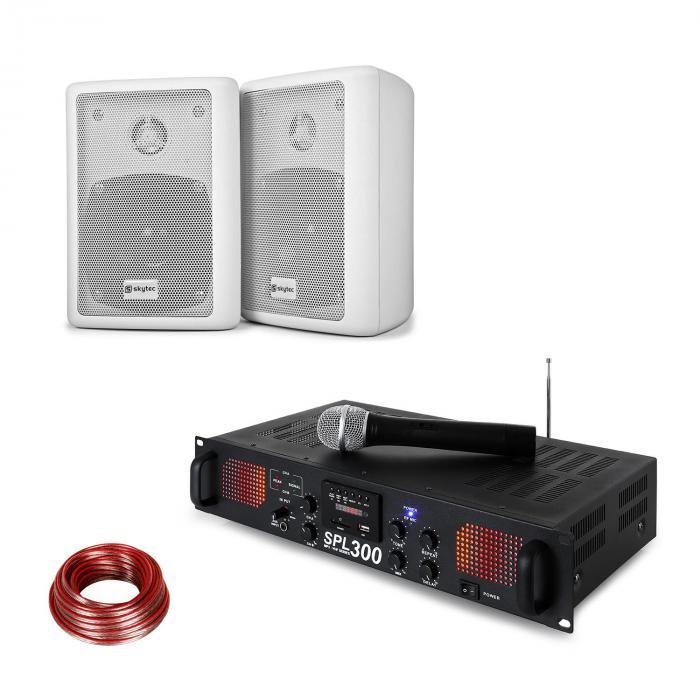 Skytec SPL 300 VHF wzmacniacz PA zestaw dwa głośniki kabel głośnikowy biały