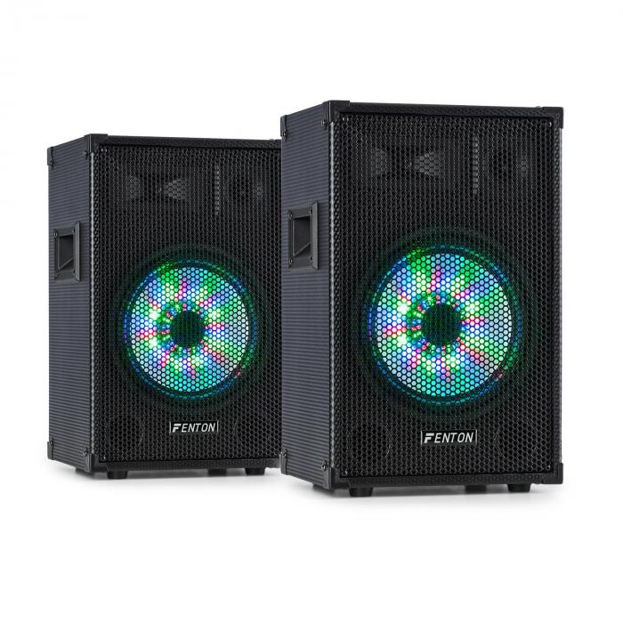 "Fenton TL10LED 3-tie passiivikaiutinpari RGB LED 10"" basso 500 W diskantti"