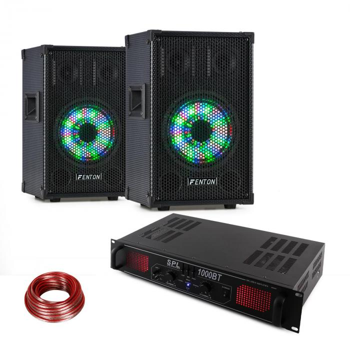 TL8LED PA Speaker + SPL1000BT PA Amplifier Set