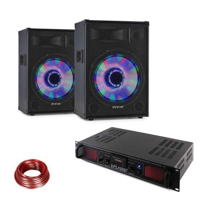 LED15BT Zestaw nagłośnieniowy dla DJ'a, 2 x kolumna nagłośnieniowa Fenton, wzmacniacz Hi-Fi Skytec, kabel do kolumny