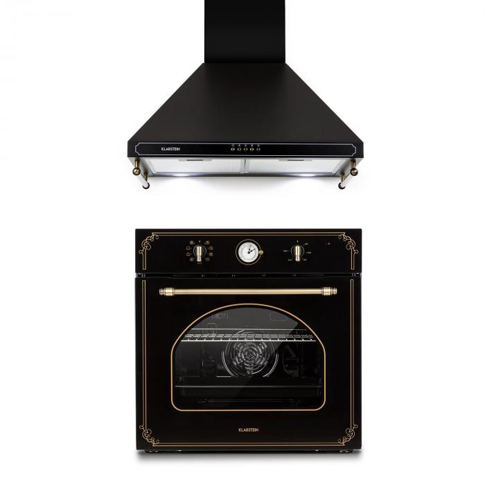 Victoria Set Built-in Oven Extractor Hood Retro Design Black
