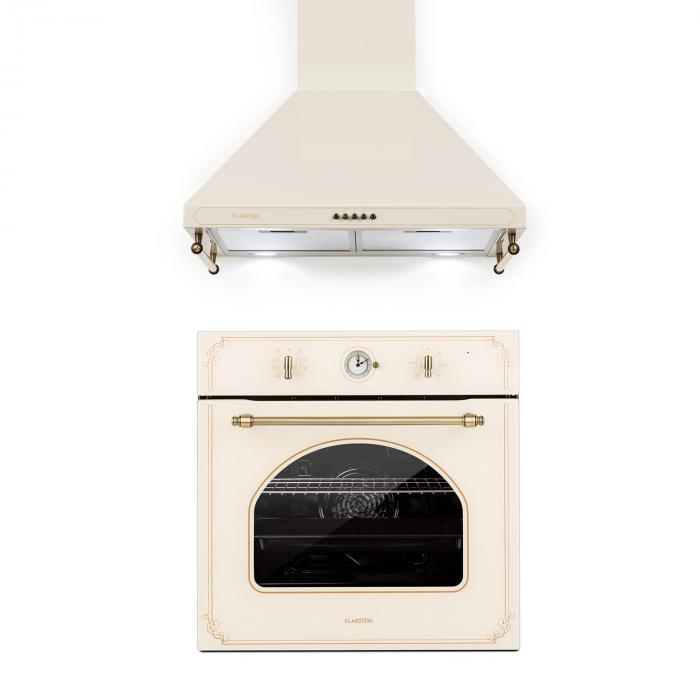 Victoria Set Built-in Oven Extractor Hood Retro Design Ivory