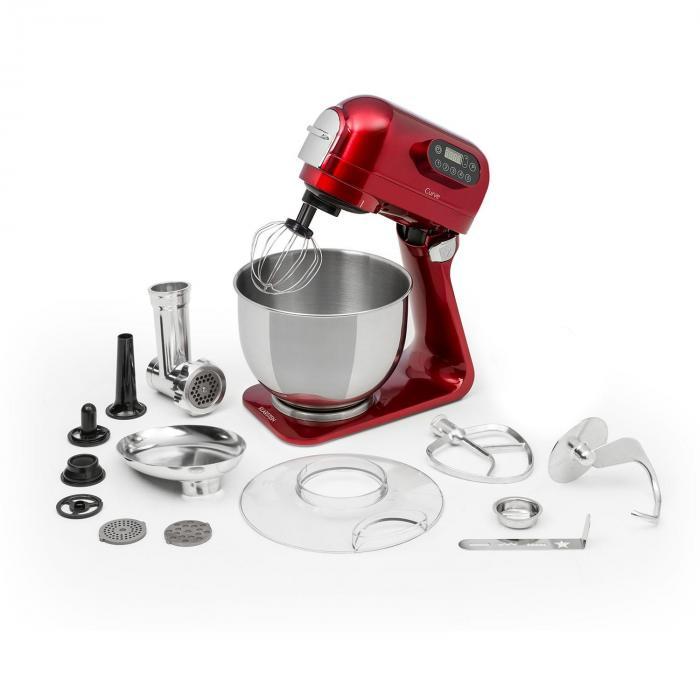 Klarstein Curve Plus robot kuchenny zestaw | 5l | 4-w-1 maszynka do mięsa | czerwony