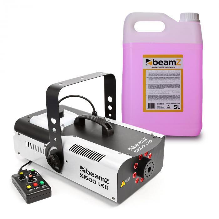 Beamz S1500LED Wytwornica mgły z 5 l fluidu do wytwarzania mgły 1500 W 9x dioda LED RGB 3 W DMX