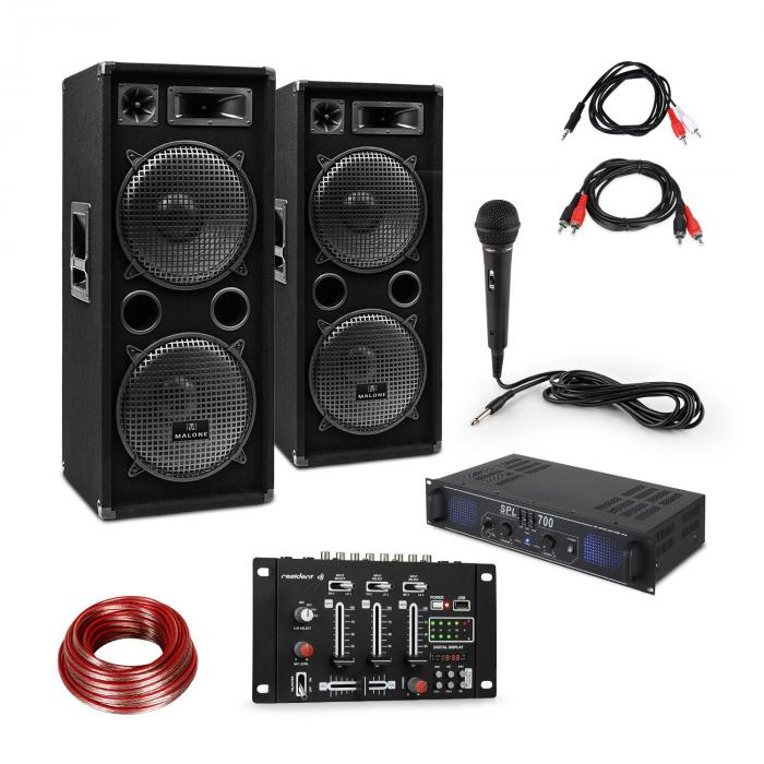 SPL700EQ Amplifier Set with 2 Speakers Mixing Console Microphone