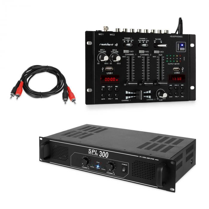 SPL300 PA Amplifier Set with Resident DJ 22 BT Mixer