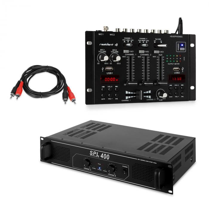 SPL400 PA Amplifier Set with Resident DJ 22 BT 2CH Mixer