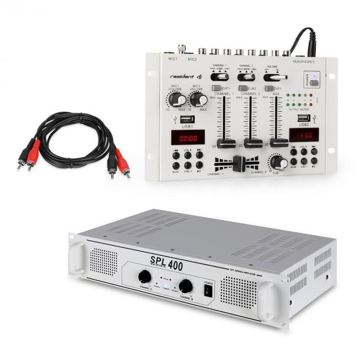 SPL400 PA Amplifier Set with Resident DJ 22 BT 2CH Mixer White