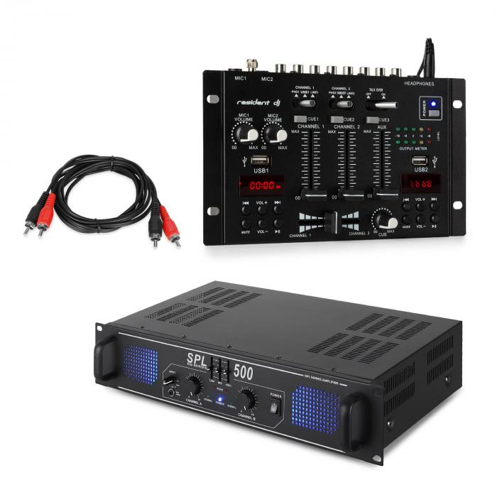 Skytec SPL500EQ PA Amplifier Set with Resident DJ 22 BT 2CH Mixer