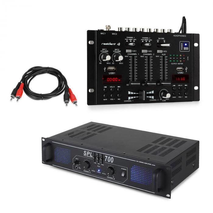 SPL700EQ PA Amplifier Set with Resident DJ 22 BT 2CH Mixer