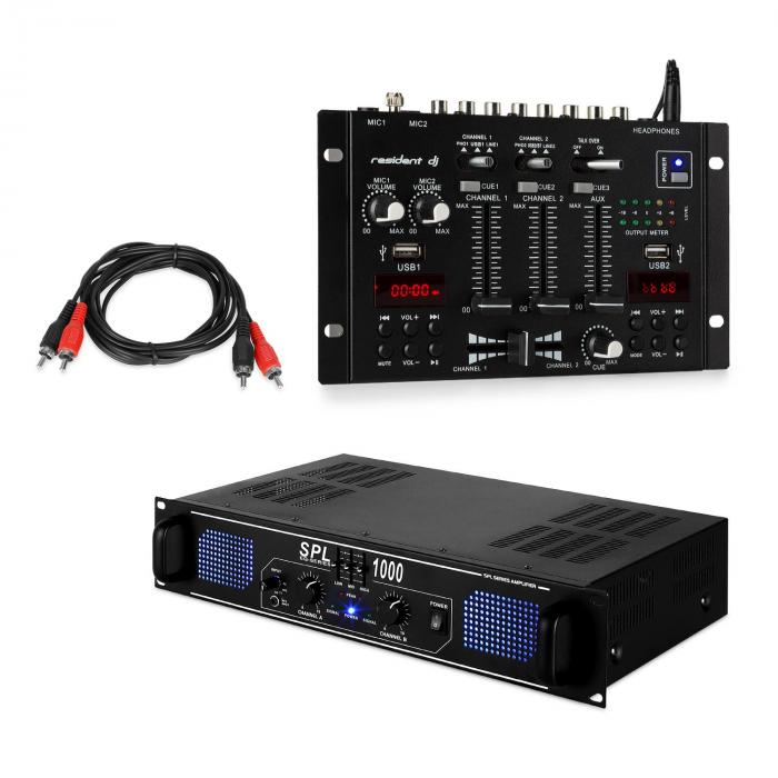 SPL1000EQ PA Amplifier Set with Resident DJ 22 BT 2CH Mixer