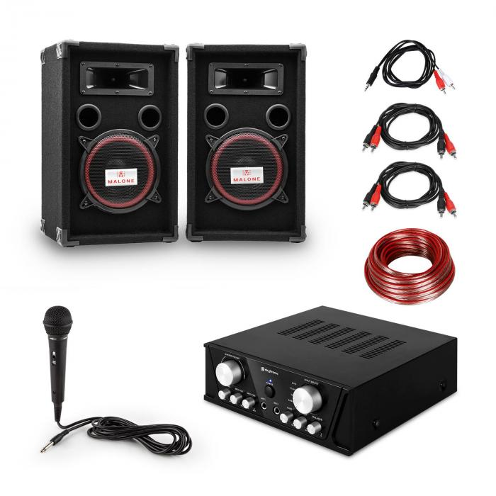 "PA System ""Easy"" DJ Set Black, PA Amplifier, 2 x Speaker, Mic, Black"