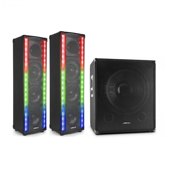 LM80 PA Set Altoparlanti 600W Bluetooth Subwoofer PA nero