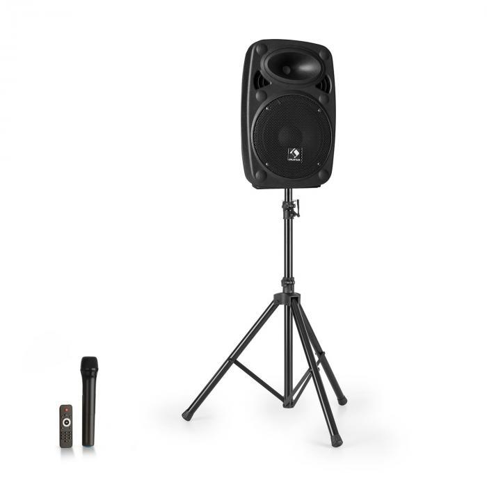 """Auna Streetstar 8 Przenośny zestaw nagłośnieniowy + statyw woofer 8"""" mikrofon UHF 200 W kolor czarny"""