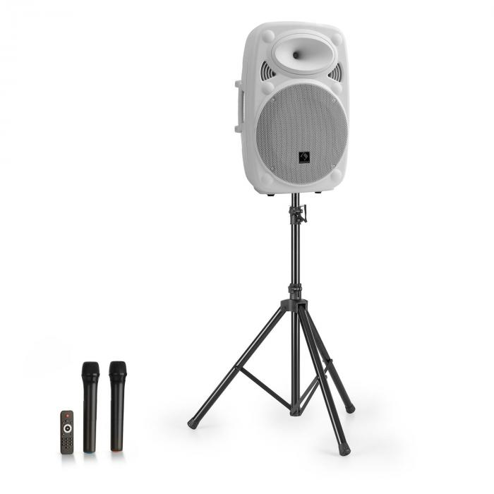 "Streetstar 12 equipo PA móvil + trípode altavoz de graves de 12"" micro UHF máximo 800 W blanco"