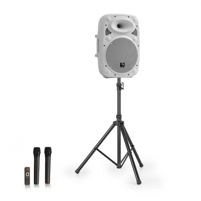 "Streetstar 10 equipo PA móvil + trípode altavoz de graves de 10"" micro UHF máximo 400 W blanco"