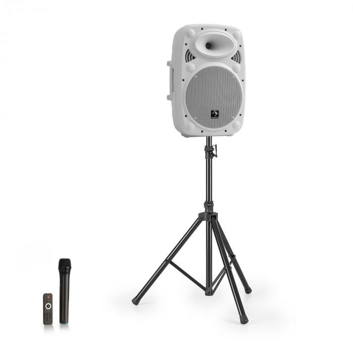 "Streetstar 10 impianto PA portatile + treppiede woofer da 10"" microfono UHF 400 Wmax. bianco"
