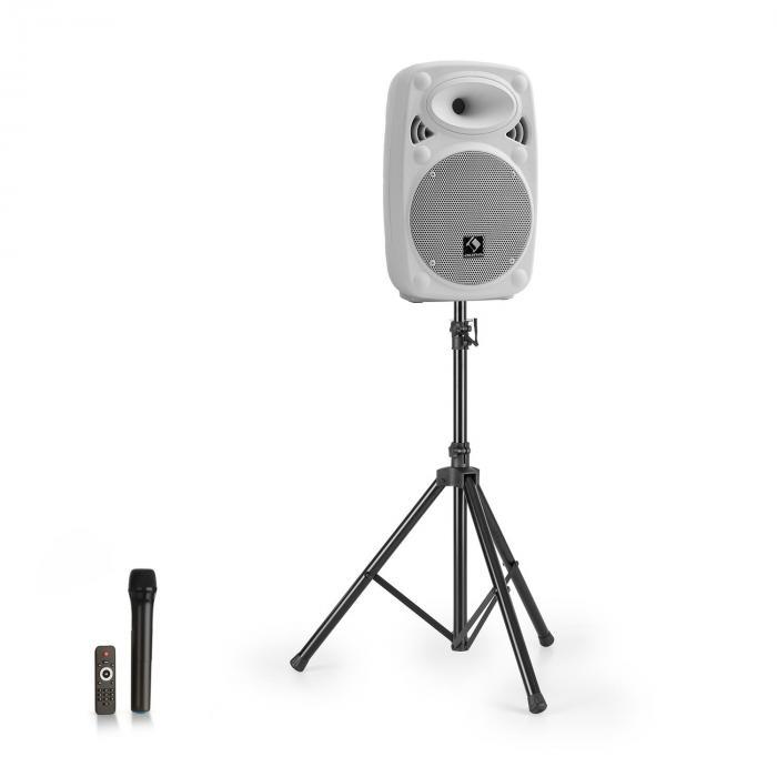 "Streetstar 8 equipo PA móvil + trípode altavoz de graves de 8"" micro UHF máximo 200 W blanco"