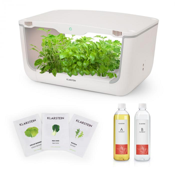 GrowIt Farm Starter Kit Salad 28 Plants 48W 8Ltr Asia Seeds Nutrient Solution