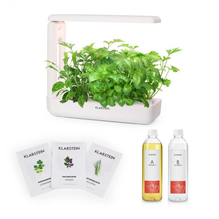Klarstein GrowIt Cuisine Zestaw startowy I 10 roślin oświetlenie LED 25 W nasiona roślin azjatyckich pożywka płynna