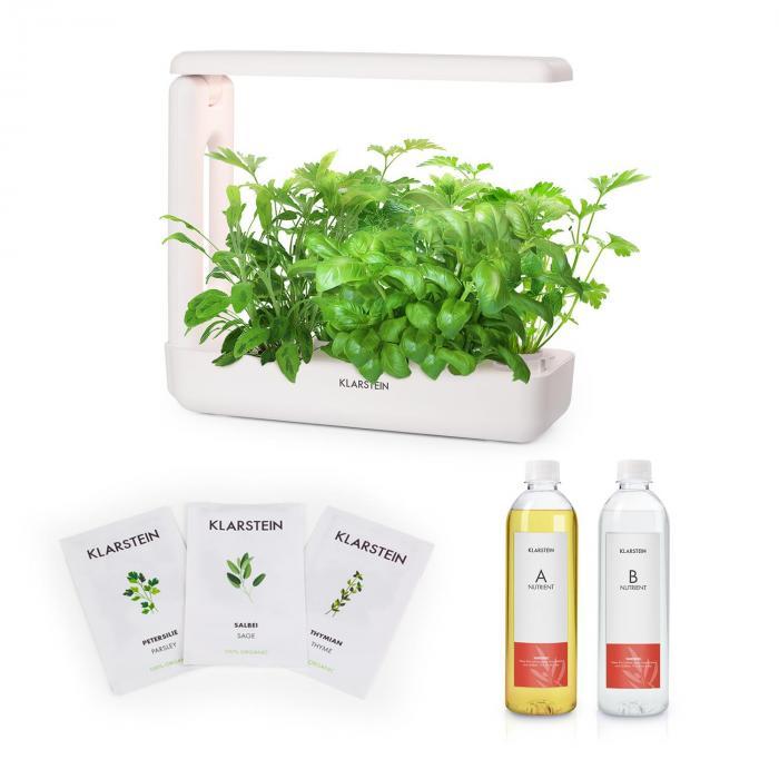 Klarstein GrowIt Cuisine Zestaw startowy II 10 roślin oświetlenie LED nasiona roślin europejskich pożywka płynna