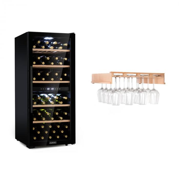 Klarstein Barossa 102 Duo lodówka na wino zestaw 2 strefy 102 butelki półka na kieliszki do wina