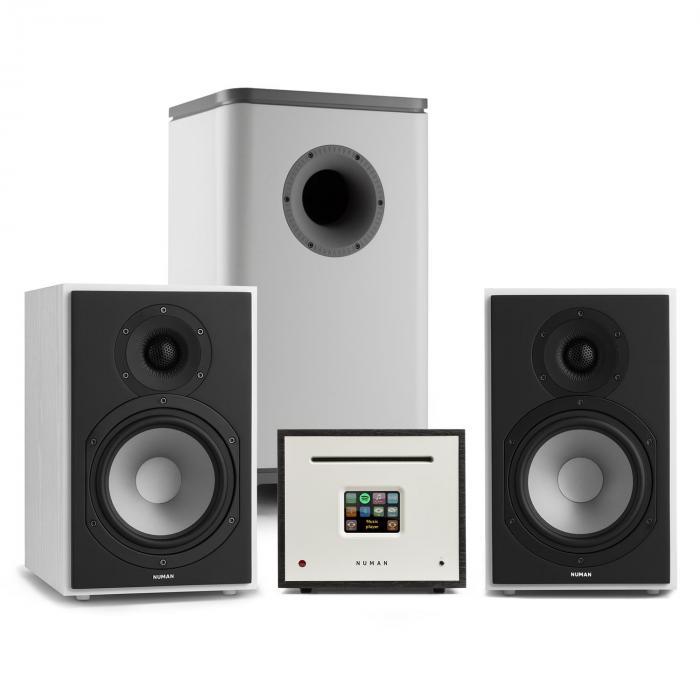 Unison Reference 802 impianto stereo amplificatore casse bianco/grigio/nero