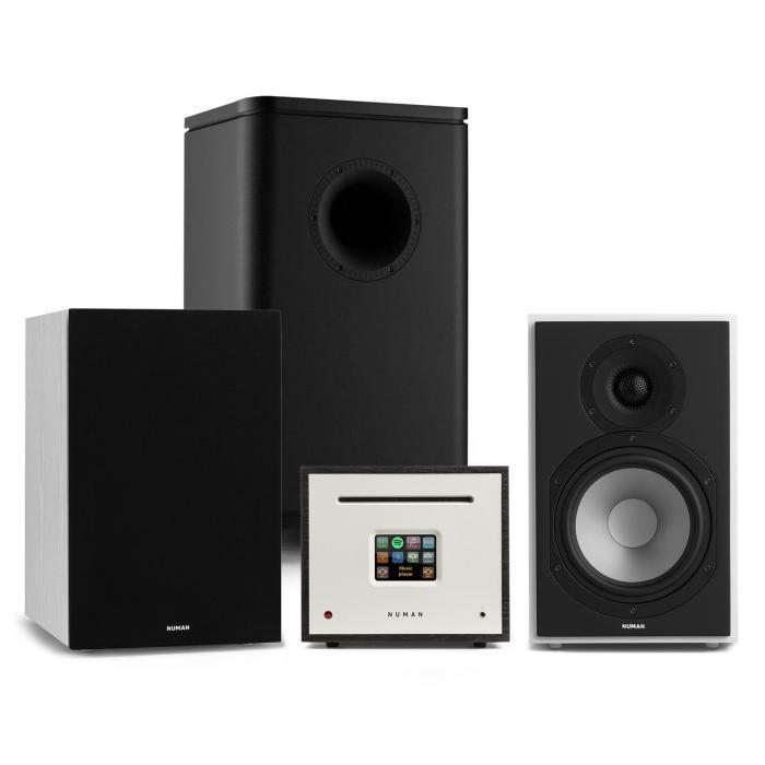 Unison Reference 802 Edition stereolaitteisto vahvistin kaiuttimet valkoinen/musta